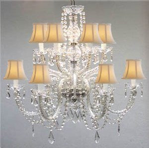 Murano Venetian Style All-Crystal Chandelier With White Shades - F46-Sc/385/6+6/White