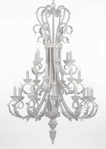 "Large Foyer / Entryway White Wrought Iron Chandelier 50"" Inches Tall H50"" X W30"" - J10-WHITE/26015/24"