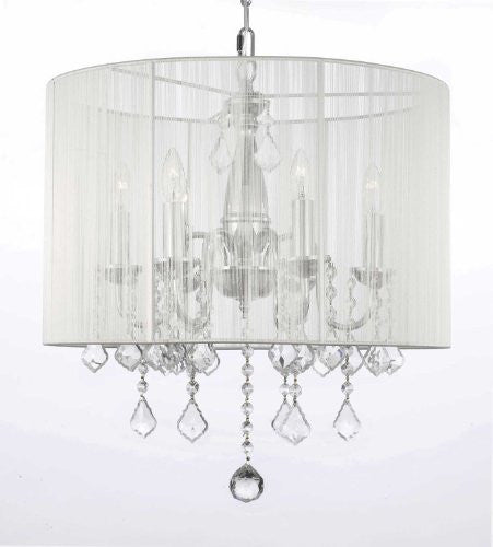Crystal Chandelier With Shade Swag Plug In-Chandelier W/ 14' Feet Of Hanging Chain And Wire - J10-B15/1126/6