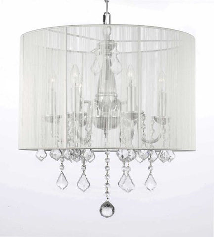 "Crystal Chandelier With Large White Shade H 19.5"" X W 18.5"" - J10-1126/6"