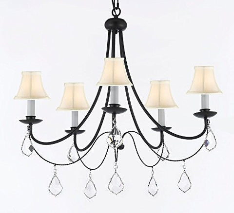 "Empress Crystal (Tm) Wrought Iron Chandelier Lighting H.22.5"" X W.26"" With White Shades - J10-Sc/Whiteshades/B7/26031/5"