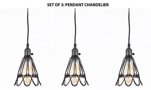 Set Of 3 - Wrought Iron Vintage Barn Metal Pendant Chandelier Industrial Loft Rustic Lighting W/ Vintage Bulbs Included Great For Kitchen Island Lighting - G7-Sn054/1Bulb-Set Of 3
