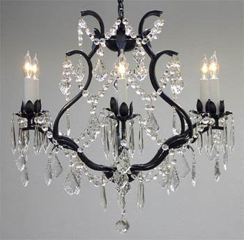 "Wrought Iron Crystal Chandelier Lighting H 19"" W 20"" - A83-3530/6"