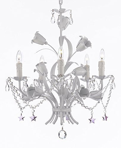 "White Wrought Iron Floral Chandelier Empress Crystal (Tm) Flower Chandeliers Lighting H23"" X W19"" - J10-B51/B52/White/325/5"