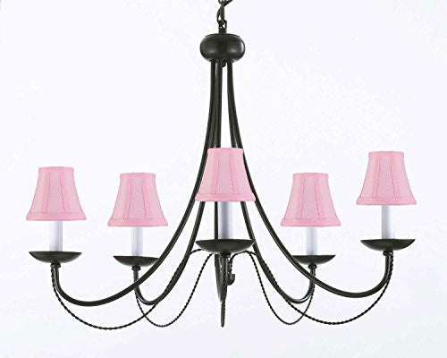 "Wrought Iron Chandelier Lighting With Pink Shades H22"" X W26"" - J10-Pinkshades/26031/5"