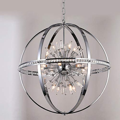"Spherical Orb Chandelier Chandeliers Lighting Chrome Color H 36"" W 36"" - Great for the Kitchen, Dining Room, Living Room, Bedroom, Family Room and more - G7-2155/16"