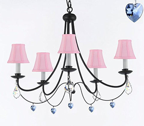 "Empress Crystal (Tm) Wrought Iron Chandelier Chandeliers Lighting H.22.5"" X W.26"" With Blue Heart Crystals And Pink Shades - J10-Sc/Pinkshades/B85/B7/26031/5"