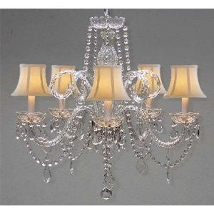 "Crystal Chandelier Lighting With White Shades H 25"" X W 24"" - A46-Whiteshades/385/5"