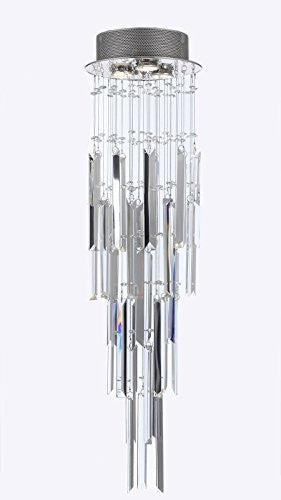 "Modern Contemporary Chandelier ""Rain Drop"" Chandeliers Lighting With Empress Crystal (Tm) Optical-Quality Fringe Prisms H 31"" W 10"" - G93-B28/815/3"