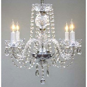 "Swarovski Crystal Trimmed Chandelier! New! Authentic All Crystal Chandelier H17"" X W17"" Swag Plug In-Chandelier W/ 14' Feet Of Hanging Chain And Wire! - A46-B15/275/4 Sw"