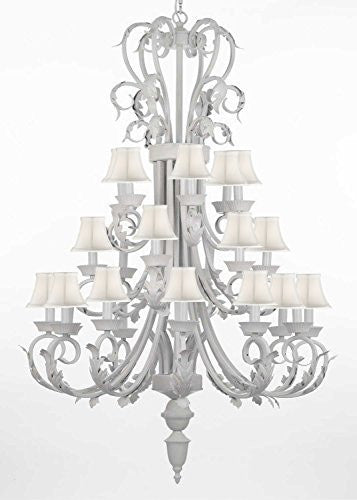 "Foyer / Entryway White Wrought Iron Chandelier 50"" Inches Tall With White Shades H50"" X W30"" - J10-WHITESHADES/WHITE/26015/24"
