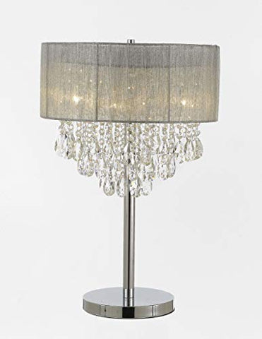 "Silver and Crystal 15""W Table Lamp Desk Lamp Bedside Lamp - T204-100/4 LAMP"