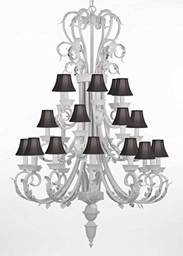 "Foyer / Entryway White Wrought Iron Chandelier 50"" Inches Tall With Black Shades H50"" X W30"" - J10-BLACKSHADES/WHITE/26015/24"