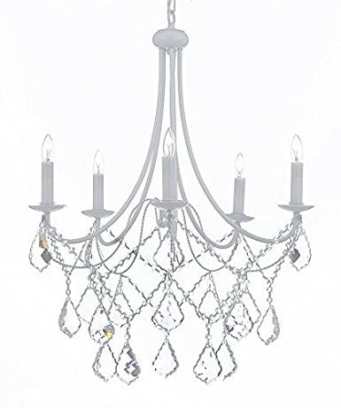 Wrought Iron Crystal Chandelier Lighting Country French White 5 Lights Ceiling Fixture Light Country Wrought - B12/403/5 white