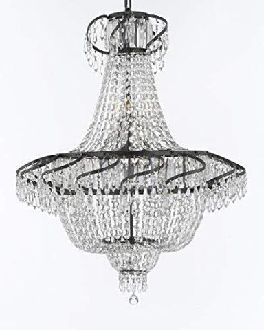 "Swarovski Crystal Trimmed French Empire Chandelier Lighting H30"" X W24"" with Dark Antique Finish! Great for The Dining Room, Foyer, Entry Way, Living Room! - A93-CB/928/9SW"