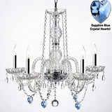 "Authentic Empress Crystal(TM) Chandelier Lighting Chandeliers with Crystal Hearts & W/Chrome Sleeves! H25"" X W24"" - G46-B43/B85/384/5"