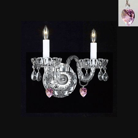 Swarovski Crystal Trimmed Chandelier Murano Venetian Style Crystal Wall Sconce Lighting With Pink Hearts - Perfect For Kid'S And Girls Bedroom - A46-B21/2/386 Sw
