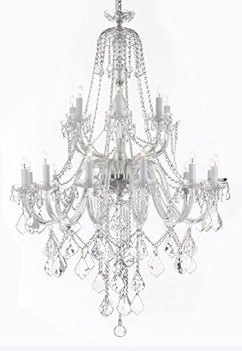 "New Murano Venetian Style Crystal Chandelier Lighting - Great For The Dining Room Foyer Living Room W 40"" H 50"" - A46-B12/282/18"