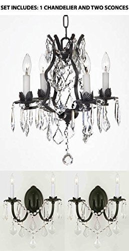 Three Piece Lighting Set - Wrought Iron Crystal Chandelier Lighting And 2 Wall Sconces - 1Ea 3034/4 + 2Ea 2/3034/Wallsconce