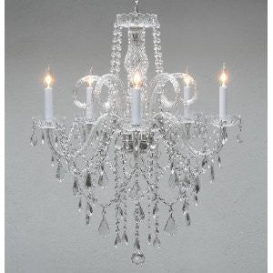 "Swarovski Crystal Trimmed Chandelier Authentic All Crystal Chandelier H30"" X W24"" Swag Plug In-Chandelier W/ 14' Feet Of Hanging Chain And Wire - A46-B15/3/385/5 Sw"