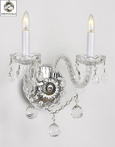 Swarovski Crystal Trimmed Chandelier! Murano Venetian Style All-Crystal Wall Sconce With Crystal Balls! - G46-B6/2/386 Sw