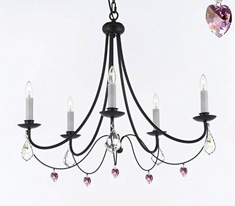 "Empress Crystal (Tm) Wrought Iron Chandelier Lighting H.22.5"" X W.26"" With Pink Heart Crystals - J10-B21/B7/26031/5"