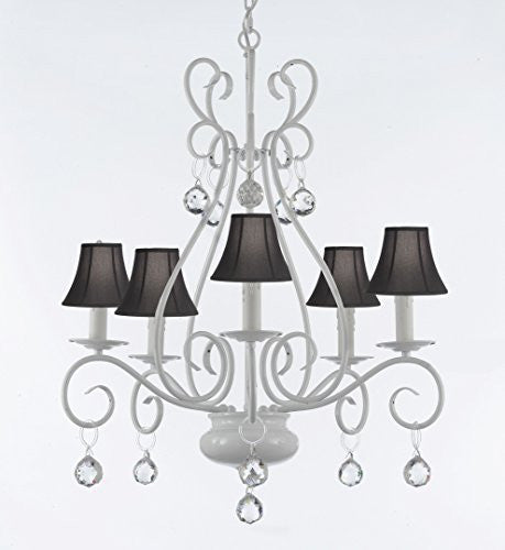 Wrought Iron Chandelier With Crystal Balls With Black Shade - P7-Sc/White/B6/441/5/Blackshades