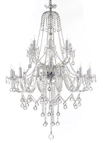 "New Murano Venetian Style Crystal Chandelier Lighting - Great For The Dining Room Foyer Living Room W 40"" H 50"" - A46-B12/B6/282/18"