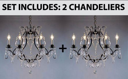 "Set Of 2 - Wrought Iron Crystal Chandelier Lighting H19"" X W20"" - Go-A83-3030/6-Set Of 2"