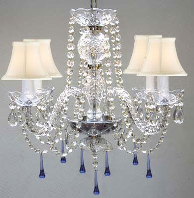 "Murano Venetian Style All Crystal Chandelier Lighting W/ Blue Crystals H17"" X W17"" With White Shade - G46-Sc/Whiteshade/B33/275/4"