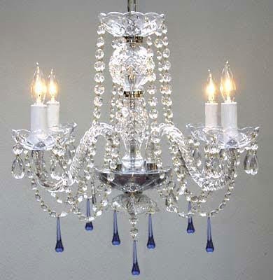 "Murano Venetian Style All Crystal Chandelier Lighting W/ Blue Crystals H17"" X W17"" - J10-B33/26098/4"