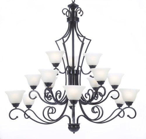 "New Foyer / Entryway Wrought Iron Chandelier Lighting H51"" X W49"" - F84-B22/451/15"