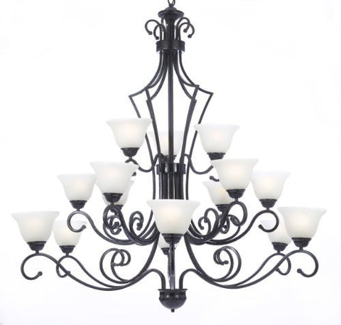 "New Foyer / Entryway Wrought Iron Chandelier Lighting H51"" X W49"" - J10-B22/26057/15"