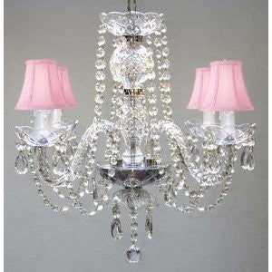 "All Crystal Chandelier With Pink Shades H17"" X W17"" Swag Plug In-Chandelier W/ 14' Feet Of Hanging Chain And Wire! - A46-B15/Pinkshades/275/4"
