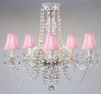 "Swarovski Crystal Trimmed Chandelier Authentic All Crystal Chandelier And Pink Shades H25"" W24"" - A46-Pinkshades/384/5Sw"