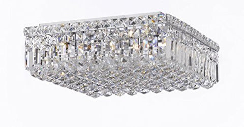 "Modern Contemporary Flush Square Empress Crystal (Tm) Chandelier Lighting W16"" H5.5"" L16"" - Cjd-Cs/2187/16"