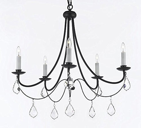 "Empress Crystal (Tm) Wrought Iron Chandelier Lighting H.22.5"" X W.26"" Swag Plug In-Chandelier W/ 14' Feet Of Hanging Chain And Wire - J10-B16/B7/26031/5"