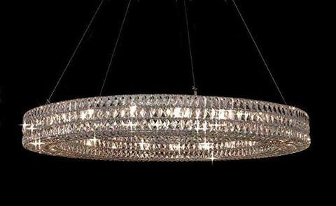 "Crystal Spiridon Ring Chandelier Modern / Contemporary Light 59"" W - Good For Dining Room Foyer Entryway Family Room Etc H6.5"" X W59"" - Gb104-3063/21"