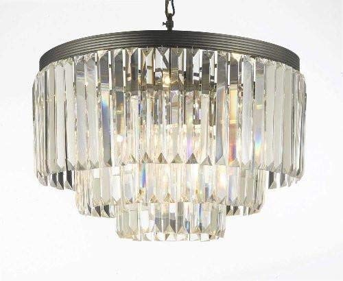 "Palladium Crystal Glass Fringe 3-Tier Chandelier Chandeliers Lighting H 22.5"" W 19.75"" - G7-1100/9B"