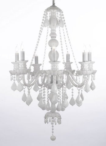 "Snow White Crystal Chandelier Lighting H37"" X W26"" - G46-White/Sm/490/7"