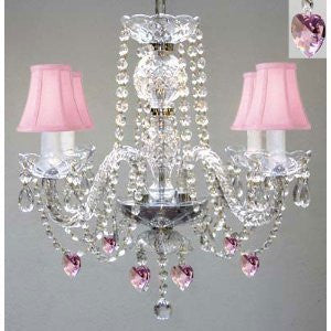 "Chandelier Lighting W/ Crystal Pink Shades & Hearts H 17"" W 17"" Swag Plug In-Chandelier W/ 14' Feet Of Hanging Chain And Wire - Perfect For Kid'S And Girls Bedroom - G46-B15/B21/Pinkshades/275/4 Sw"