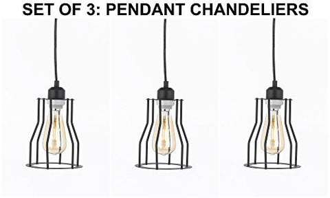 "Set Of 3 - Wrought Iron Vintage Barn Metal Pendant Chandelier Industrial Loft Rustic """"Cage"""" Lighting W/ Vintage Bulbs Included Great For Kitchen Island Lighting - G7-3522/1Bulb-Set Of 3"