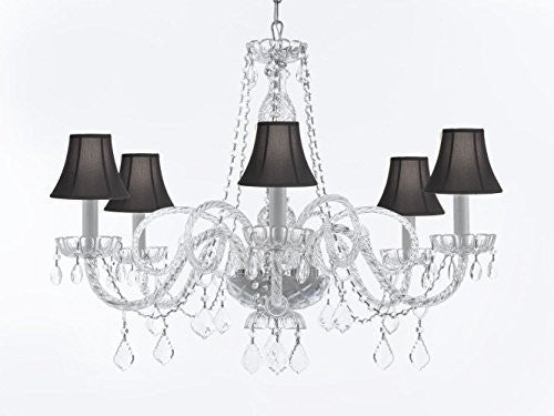 "Crystal Chandelier Lighting With Black Shades H27"" X W32"" - G46-Sc/Blackshades/B67/385/6"