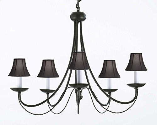 "Wrought Iron Chandelier Lighting With Black Shades! H22"" X W26"" - A7-Blackshades/403/5"