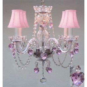 "Crystal Chandelier W/ Pink Crystal Hearts & Pink Shades H17"" X W17""Swag Plug In-Chandelier W/ 14' Feet Of Hanging Chain And Wire - A46-B15/B23/Pinkshades/275/4"