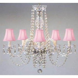 New! Authentic All Crystal Chandelier With Pink Shades! Swag Plug In-Chandelier W/ 14' Feet Of Hanging Chain And Wire! - A46-B15/Pinkshades/384/5