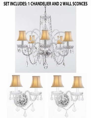 Three Piece Lighting Set - Crystal Chandelier And 2 Wall Sconces With White Shades! - 1Ea Sc/385/5 + 2Ea Sc/B12/2/386