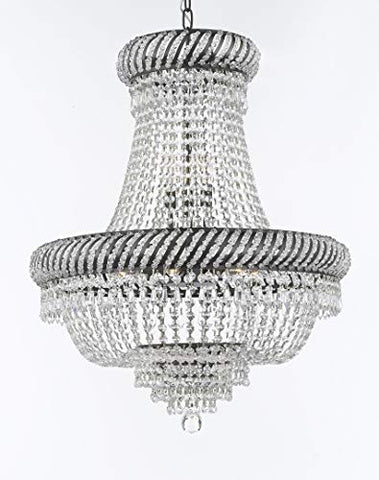 "Swarovski Crystal Trimmed French Empire Chandelier Lighting H26"" X W23"" with Dark Antique Finish! Great for The Dining Room, Foyer, Entry Way, Living Room! - F93-CB/448/9SW"