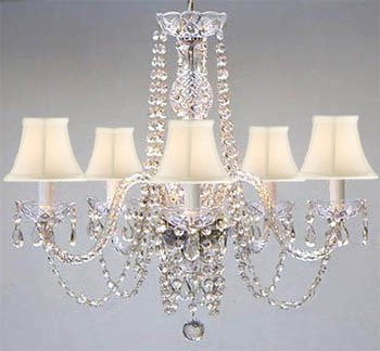 Swarovski Crystal Trimmed Chandelier New Authentic All Crystal Chandelier With Shades Swag Plug In-Chandelier W/ 14' Feet Of Hanging Chain And Wire - A46-B15/Whiteshades/384/5 Sw