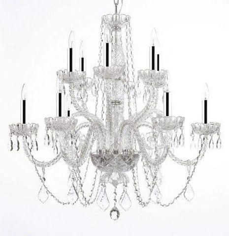 "Chandelier Lighting Crystal Chandeliers w/Chrome Sleeves H27"" X W32"" - GO-B43/A46-385/6+6B"
